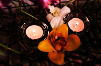2 Candles and Orchid by Ave Valencia