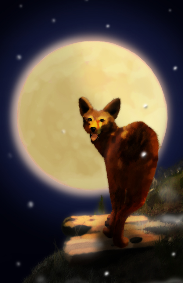 Coyote with Full Moon 2 by Ave Valencia