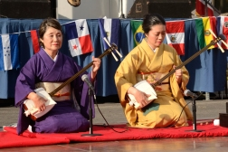 Kimisen Katada (left) is an accomplished performer and gives Shamisen and Japanese dance lessons in Ventura FujiJapaneseMusic.org
