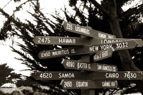 Cities distances sign from Cambria California