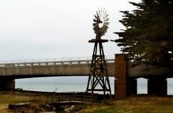 windmill, two bridges, ocean, Cambria California