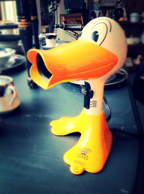 Duck-shaped blow dryer, shopping, Cambria California
