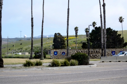 Vandenberg Air Force Base entrance, cows in background