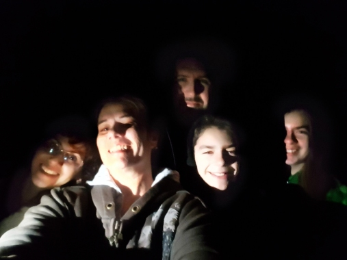 3 adults, 2 kids hike at night