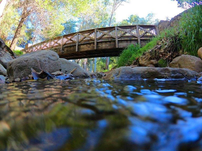 Wooden bridge over creek