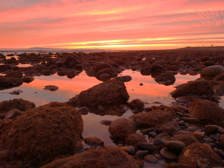 orange horizon reflects off water in tide waters caught between mossy rocks; people watch sunset