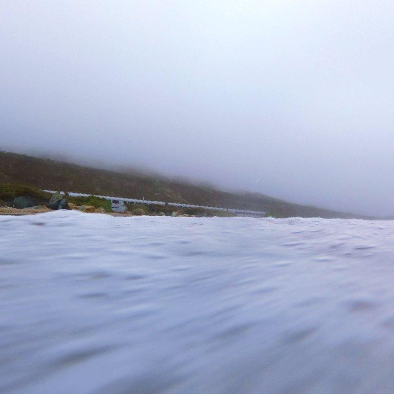 seafoam in foreground, Amtrak train along coastline, foggy hills in background
