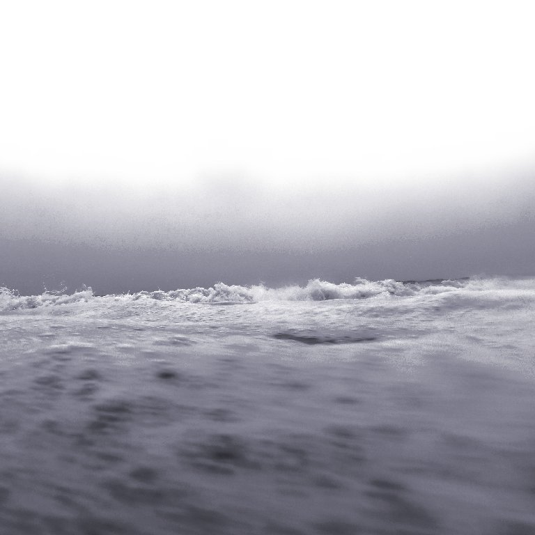 gray gradient sky, seafoam across foreground, a line of white waves crashing in the horizon